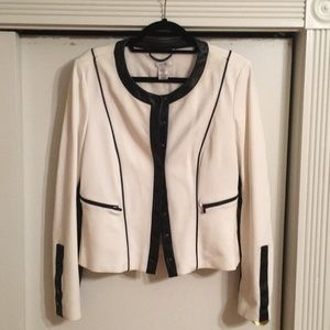 Jacket With Leather Detail